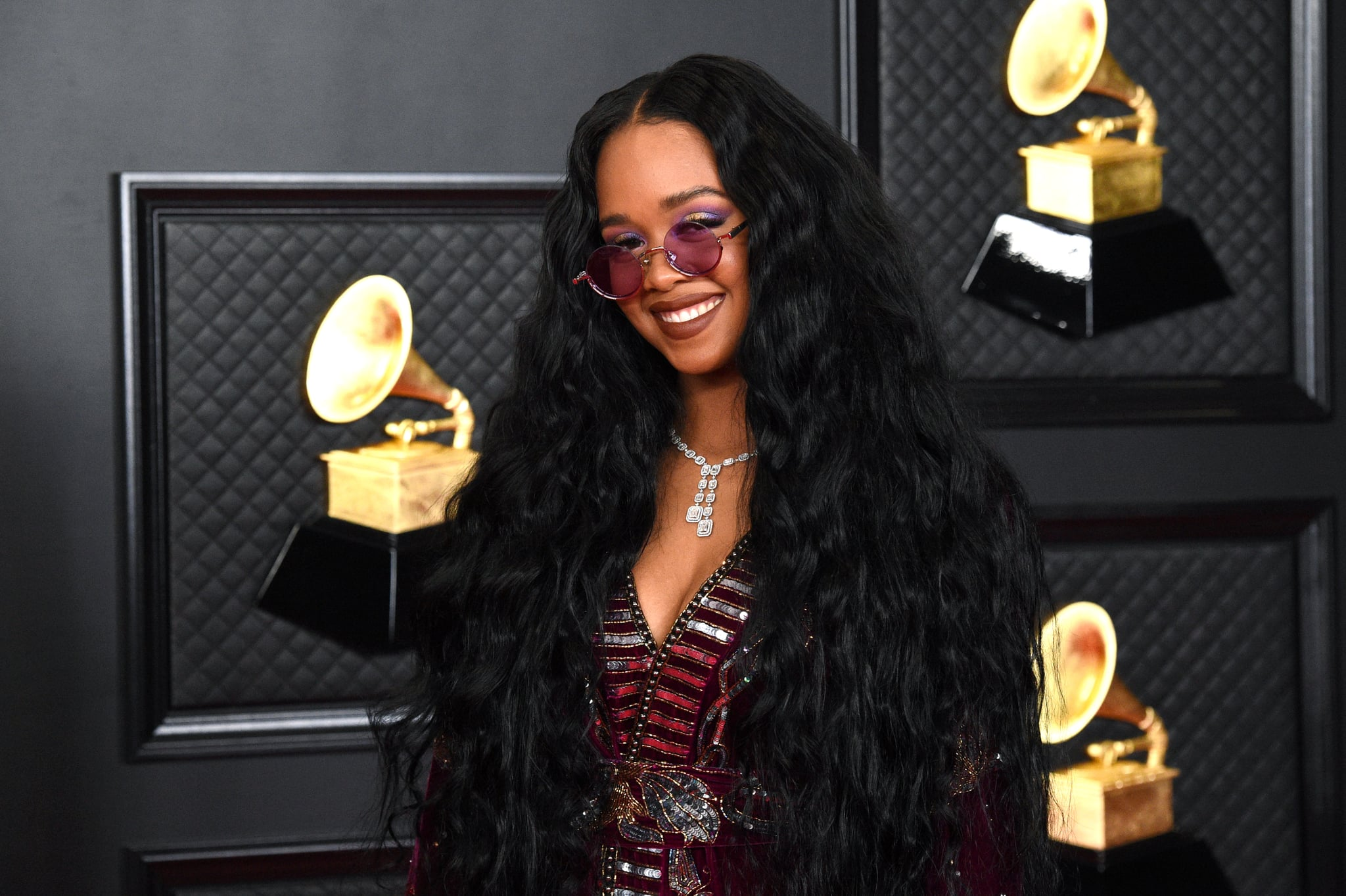 LOS ANGELES, CALIFORNIA - MARCH 14: H.E.R. attends the 63rd Annual GRAMMY Awards at Los Angeles Convention Centre on March 14, 2021 in Los Angeles, California. (Photo by Kevin Mazur/Getty Images for The Recording Academy )