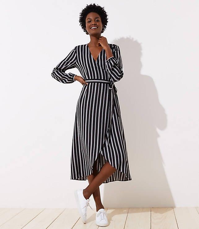 Loft Striped Midi Wrap Dress