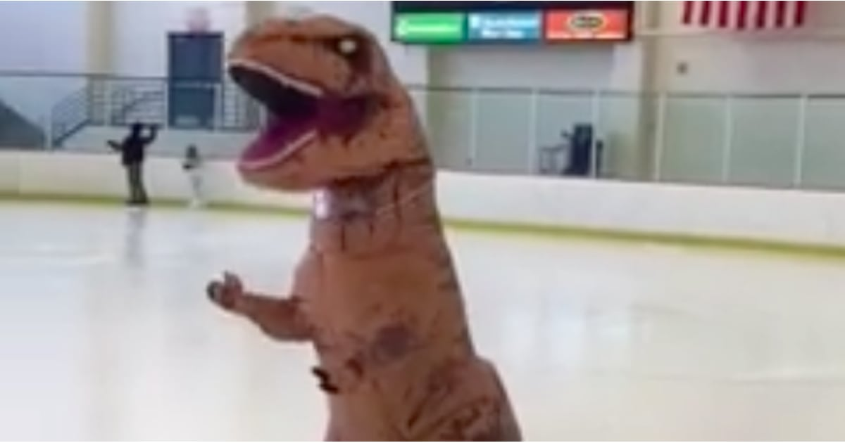 & Funny Video of Figure Skater in Dinosaur Costume | POPSUGAR Fitness