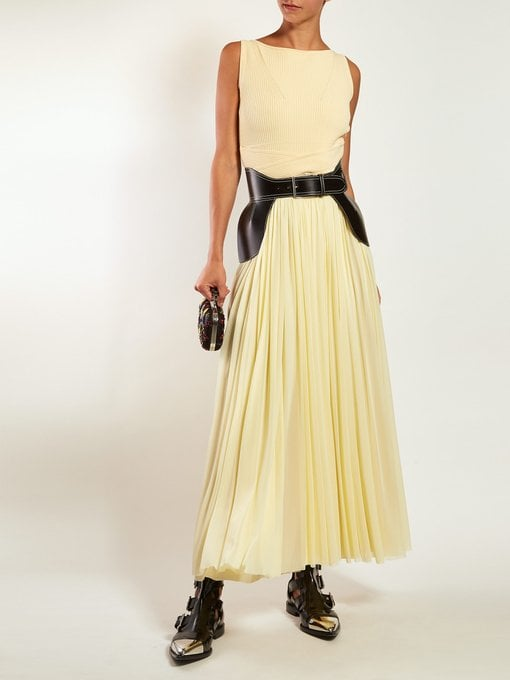 Alexander McQueen Ribbed-Bodice Pleated-Skirt Gown