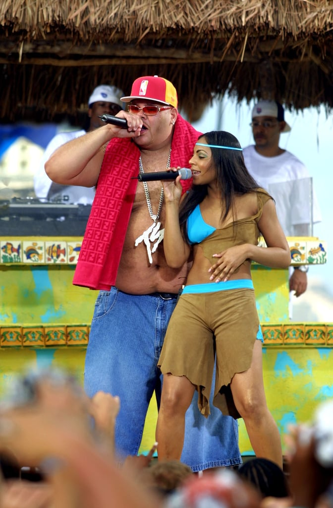 2002: Fat Joe goes shirtless (save for a giant diamond necklace and Fendi beach towel).