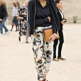 Printed trousers were the perfect finish in this easy ensemble.