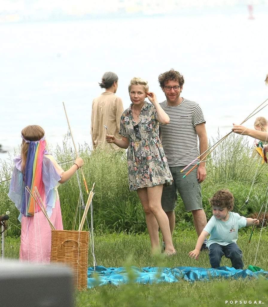 Michelle Williams got close with new boyfriend Dustin Yellin at a children's birthday party with her daughter, Matilda, in Brooklyn.