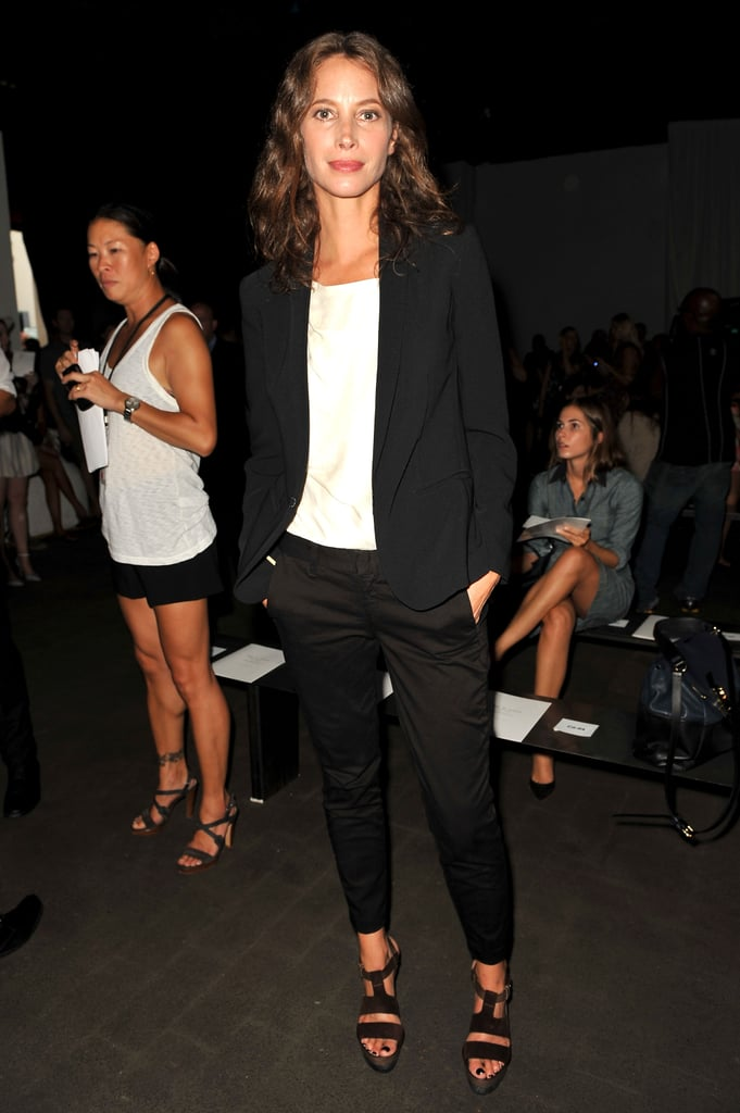 Christy Turlington took a sleek black and white approach to her front-row style at the Rag & Bone Spring 2013 show.