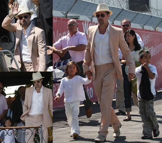 Photos of Brad Pitt, Maddox Jolie-Pitt, Pax Jolie-Pitt in Venice