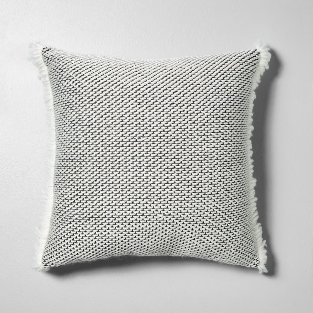 Textured Pillow in Gray / White With Fringe