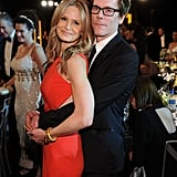 """Adorable couple Kyra Sedgwick and Kevin Bacon assumed the traditional """"prom pose"""" in January at the SAG Awards."""