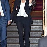 Meghan wore a modest pussy-bow blouse underneath her Alexander McQueen blazer and matching cropped trousers for the Endeavour Fund Awards in February 2018.