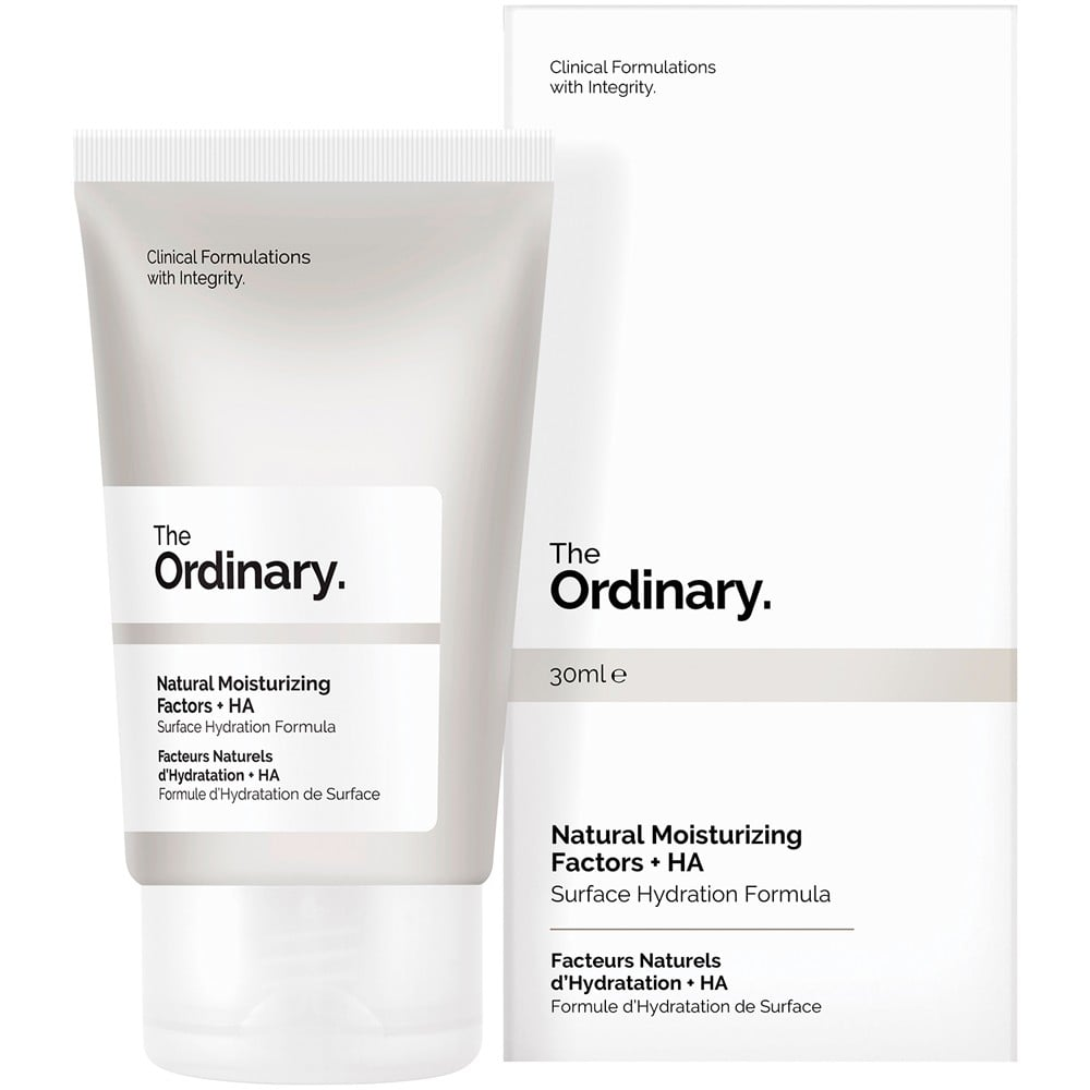 The Ordinary Natural Moisturizing Factors + HA   Offering instant hydration, The Ordinary Natural Moisturizing Factors + HA, contains 11 amino acids, phospholipids, alpha/beta/gamma fatty acids, triglycerides, sterols and sterol esters, glycerin, ceramide precursors, urea, saccharides, sodium PCA and hyaluronic acid that all work together to seal in the skins moisture while adding a boost of additional hydration. Apply as needed.