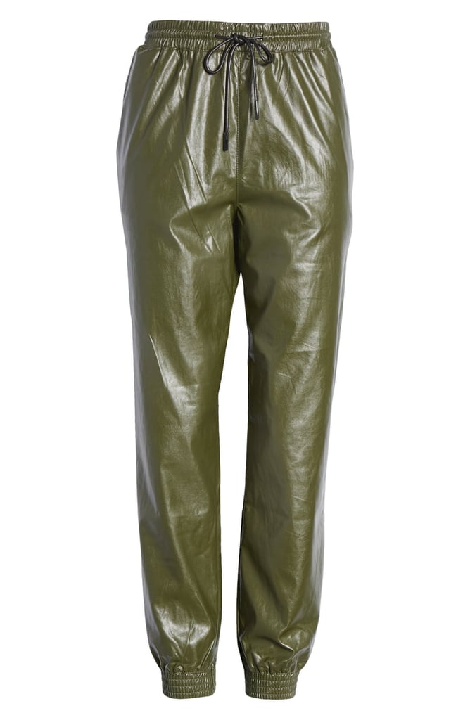 Know One Cares Faux Leather Jogger Pants