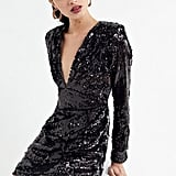 Motel Meli Plunging Sequin Mini Dress