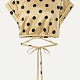 Orseund Iris Le Club cropped polka-dot satin top