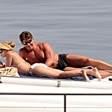 Scarlett Johansson wore a bikini for a yacht vacation near Taormina in Sicily.