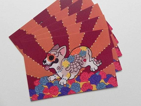 Day of the Dead Corgi Postcards