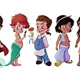 Disney Princesses as Boys Illustrations