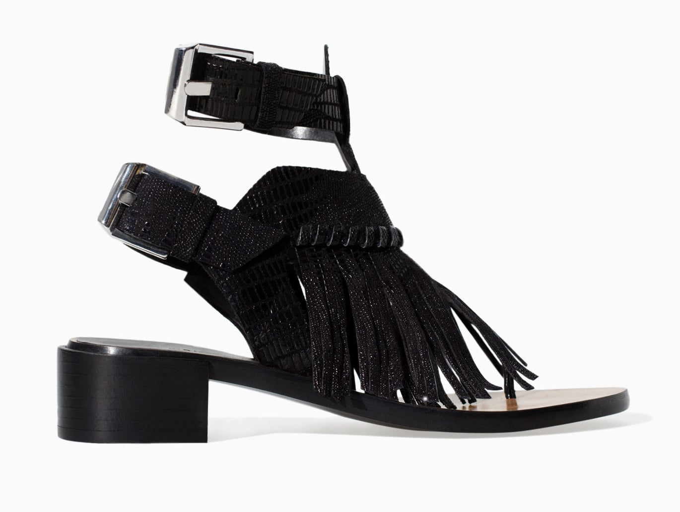 Zara black leather ankle-strap sandals with fringe ($100)