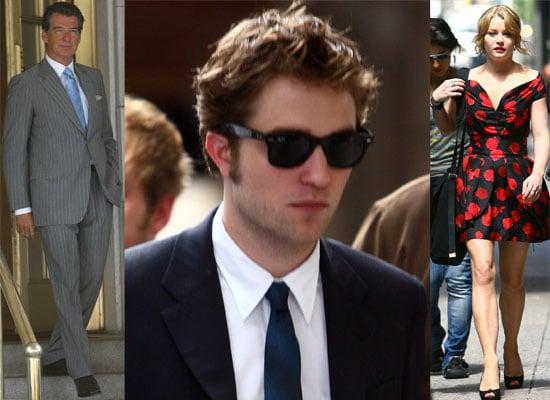 Photos Of Robert Pattinson in A Suit, Emilie De Ravin, Pierce Brosnan Filming Remember Me in New York. Daniel Radcliffe Talks.