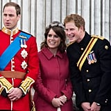 With her sister, Princess Eugenie, and cousins Prince William and Prince Harry during Trooping the Colour in 2012.