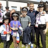 David Beckham brought his sons, Romeo, Cruz, and Brooklyn Beckham, to meet the Olympic security personnel during last Summer's London Olympics.