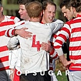 Prince William and Prince Harry hugged it out after their holiday soccer game.