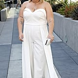 Wear a Strapless Jumpsuit With White Mules