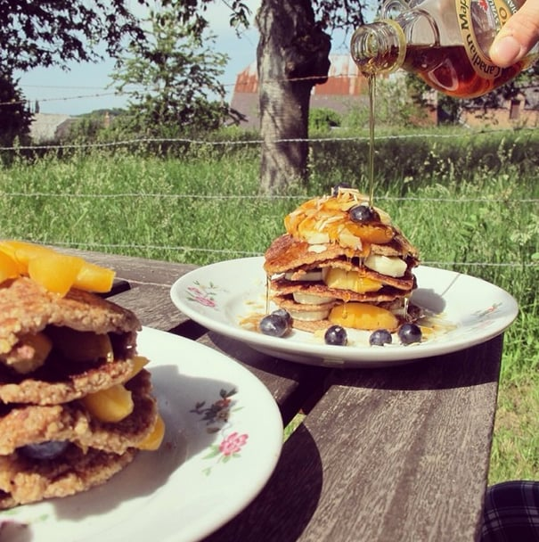 Walnuts add an unexpected crunch plus a healthy dose of protein to these delicious short stacks.  Source: Instagram user holynut_