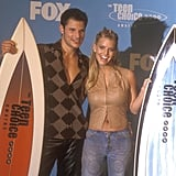 Nick Lachey and Jessica Simpson posed with their surfboards in 2000.