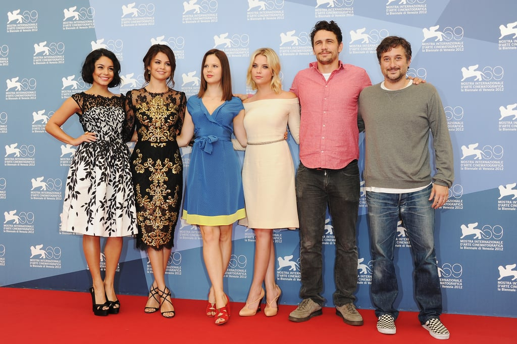 Selena Gomez, Vanessa Hudgens, Rachel Korine, Ashley Benson, James Franco, and Harmony Korine got together at the Spring Breakers photocall at the Venice Film Festival.
