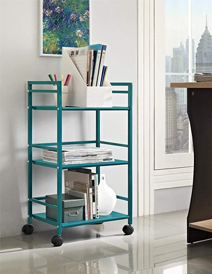 Ameriwood Home Marshall 3-Shelf Metal Rolling Utility Cart