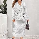 Shein Lapel Collar Double Breasted Belted Dot Print Blazer & Skirt Set