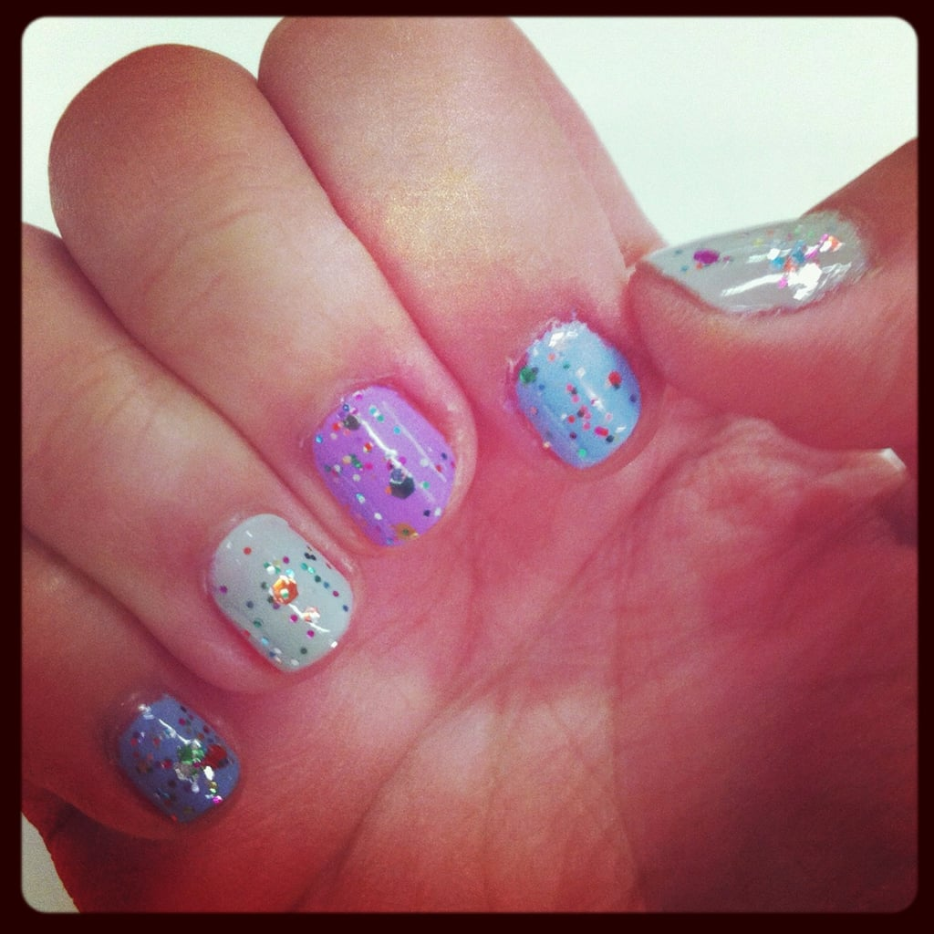 Jess played with pastels and glitter for this confetti-style mani.