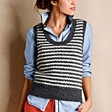 Lands' End Canvas Mohair Striped Sweater Vest ($80) proves just how great a simple sweater vest can look when layered with a boyfriend-style collared shirt and bright denim.