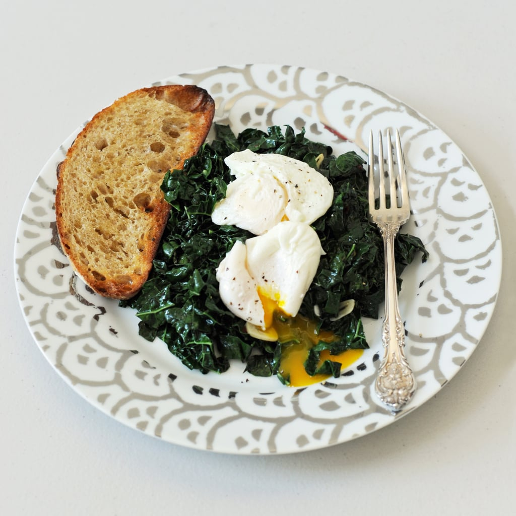 Spicy Garlic Kale With Poached Eggs