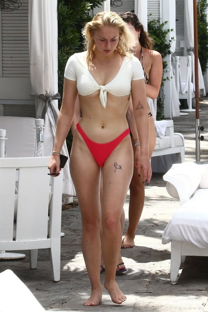 Sophie Turner White And Red Bikini August 2018 Popsugar
