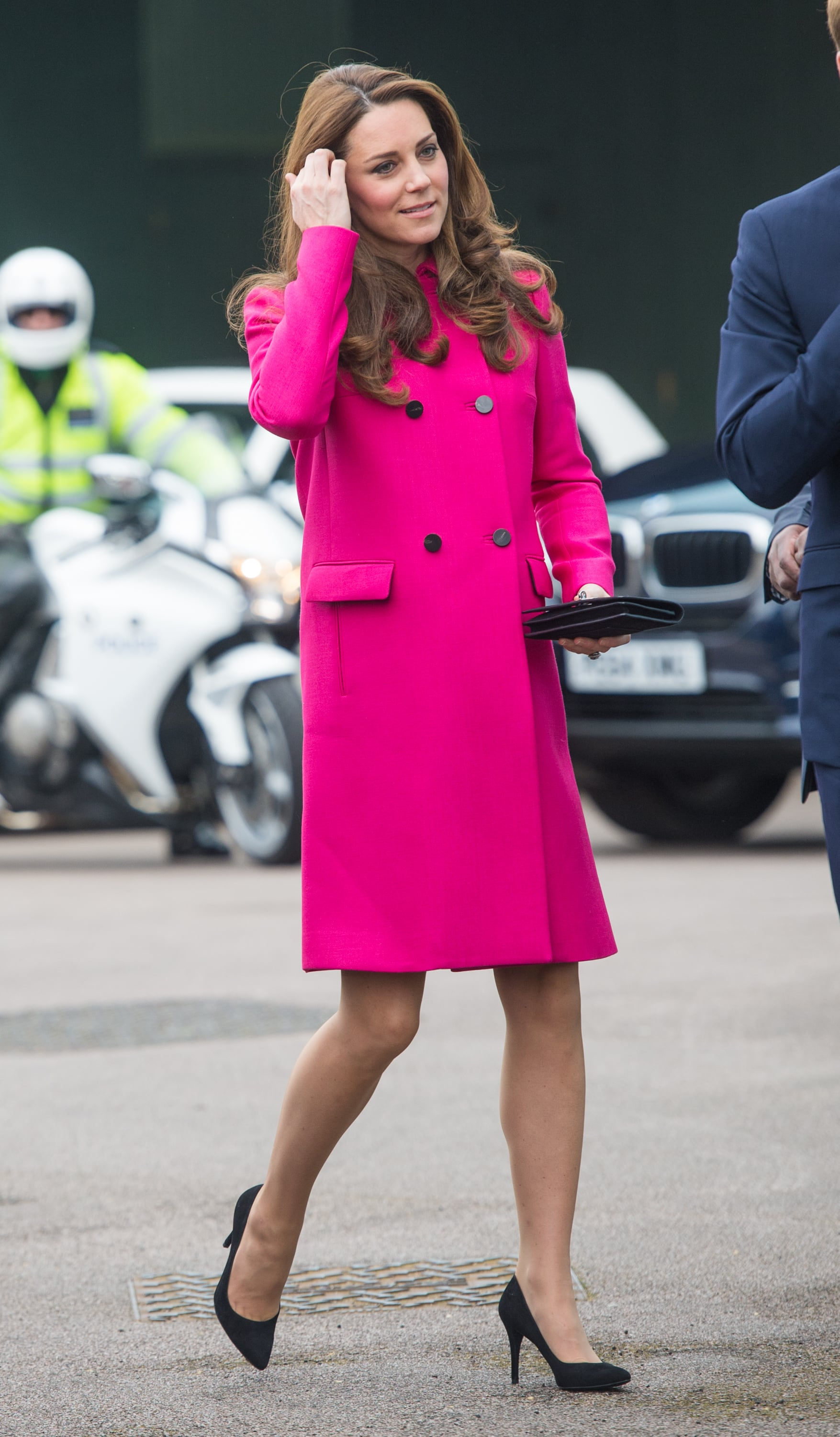 d98dc3409c7 Kate let her fuchsia coat speak for itself by selecting simple, | Is ...