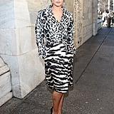 Cheryl mixed her prints at the Roberto Cavalli show at Milan Fashion Week in 2013.