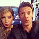 Ashley Tisdale taught Ryan Seacrest how to make duck lips. Source: Instagram user ryanseacrest