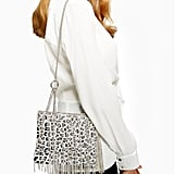 Topshop Leopard Print Metal Chain Shoulder Bag