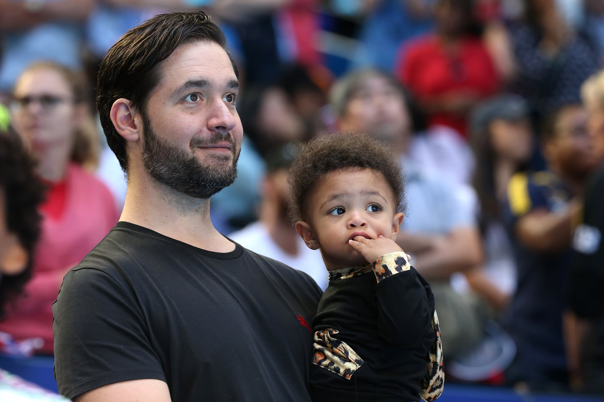 PERTH, AUSTRALIA - JANUARY 03: Serena Williams's husband Alexis Ohanian, holds their daughter Alexis Olympia Ohanian Jr. following the women's singles match between Serena Williams of the United States and Katie Boulter of Great Britain during day six of the 2019 Hopman Cup at RAC Arena on January 03, 2019 in Perth, Australia. (Photo by Paul Kane/Getty Images)