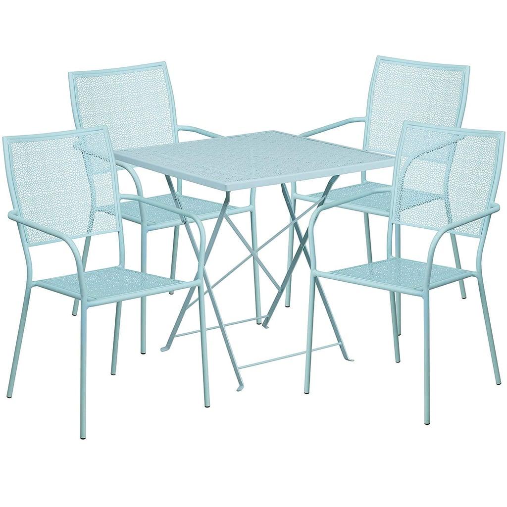 Flash Furniture Square Sky Blue Folding Patio Table Set