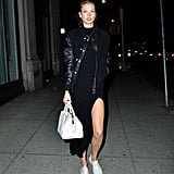To Accent a Casual Slitted Dress and Bomber Jacket
