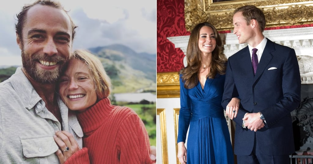 "James Middleton is engaged! Kate Middleton's brother proposed to his now-fiancée, Alizee Thevenet, confirming the engagement on his Instagram feed over the weekend.  James posted a sweet photo of the couple on his account, captioned, ""❤️She said OUI ❤️ Our secret is out but we couldn't be happier to share the news 🥂🍾 #jalizee 🇬🇧🇫🇷."" The pair have been dating since 2018, and Alizee has attended a number of public events with James this year, including Lady Gabriella Windsor's wedding — wearing an H&M dress, no less.  When we first saw the snap, after melting over the couple's huge smiles, we immediately took notice of Alizee's engagement ring. It bears a striking resemblance to James's sister Kate's engagement ring, which used to belong to Princess Diana. Similar to the duchess's, Alizee's ring features a sapphire stone surrounded by diamonds. The most notable difference, however — other than the size and royal history of Kate's ring — is that Alizee's appears to be a cushion or princess cut, as opposed to Kate's oval shape. We wonder whether James took inspiration from his sister when choosing the ring. Either way, it's beautiful, and we wish the happy couple many congratulations.      Related:                                                                                                           Princess Beatrice's Engagement Ring Is Incredible — and Designed by Her Fiancé"