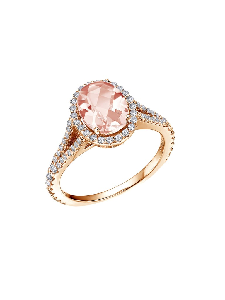 Lafonn Oval Shape Halo Ring with Simulated Diamonds and Simulated Morganite