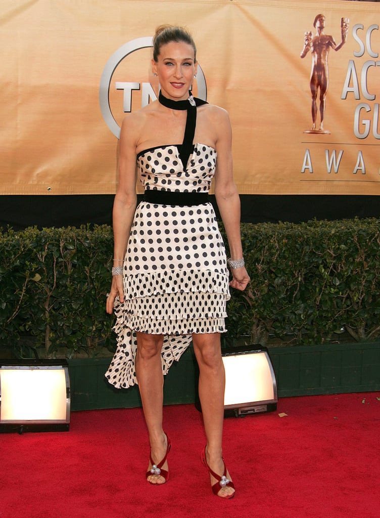 SJP went whimsical at the 2005 SAG Awards in a ruffled polka-dot Yves Saint Laurent, which she paired with red suede sandals and a few diamond jewels.