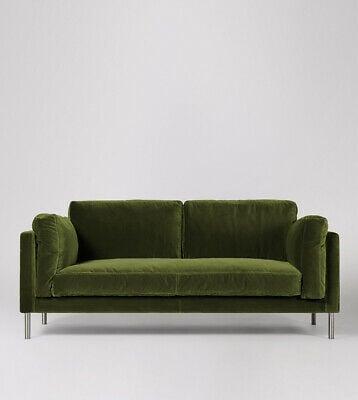 Swoon Munich Living Room Fern Easy Velvet Three Seater Sofa