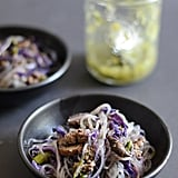 Ginger Scallion Beef Stir-Fry With Red Cabbage and Mushrooms