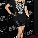 Fergie wore black leather shorts with a t-shirt for Joe Zee's party in LA.