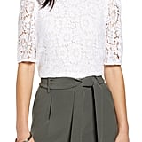 Halogen Puff-Sleeve Lace Top