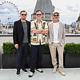 Leonardo DiCaprio, Quentin Tarantino, and Brad Pitt at the London photocall of Once Upon a Time in Hollywood.