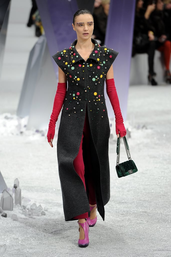 Kerr popped up in Paris again for Fall 2012, hitting the runway in a colorful Chanel design.